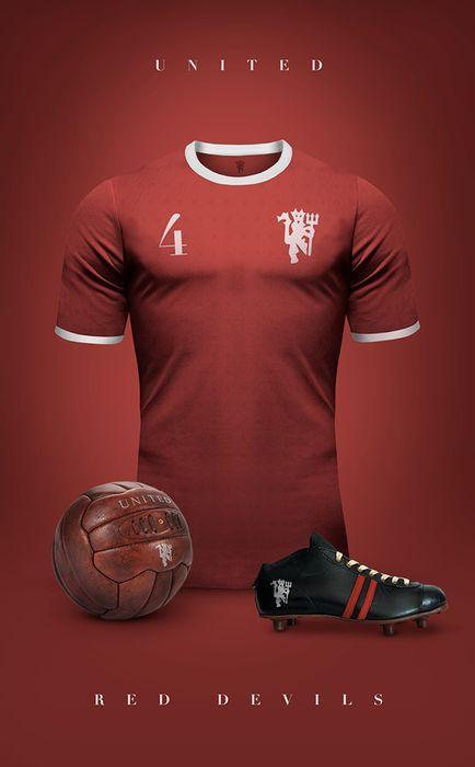 Top 20 des superbes maillots de foot vintage, imaginés par Emilio Sansolini - Manchester United