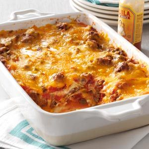 Beef Taco Lasagna Recipe from Taste of Home -- shared by Stacey Compton of Toledo, Ohio