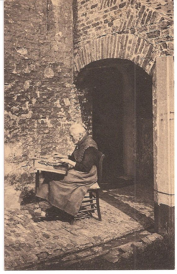 The Lace Maker - old Belgium postcard