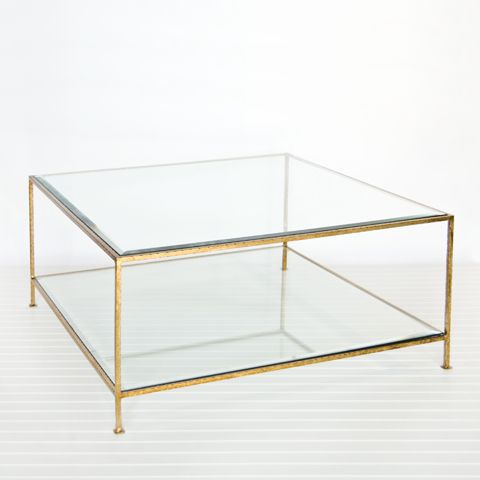 """worlds awayQuadro Gold Leaf Square Coffee Table      18"""" h x 37"""" w x 37"""" d      Square hammered umber gold leaf 2-tier coffee table with beveled glass tops.      stock #: QUADRO G"""