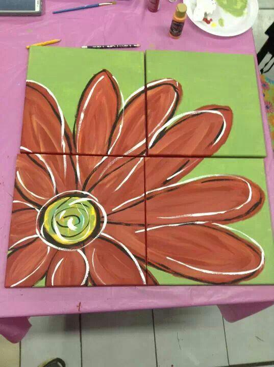 Flower multi canvas multicanvas painting pinterest for Multi canvas art diy