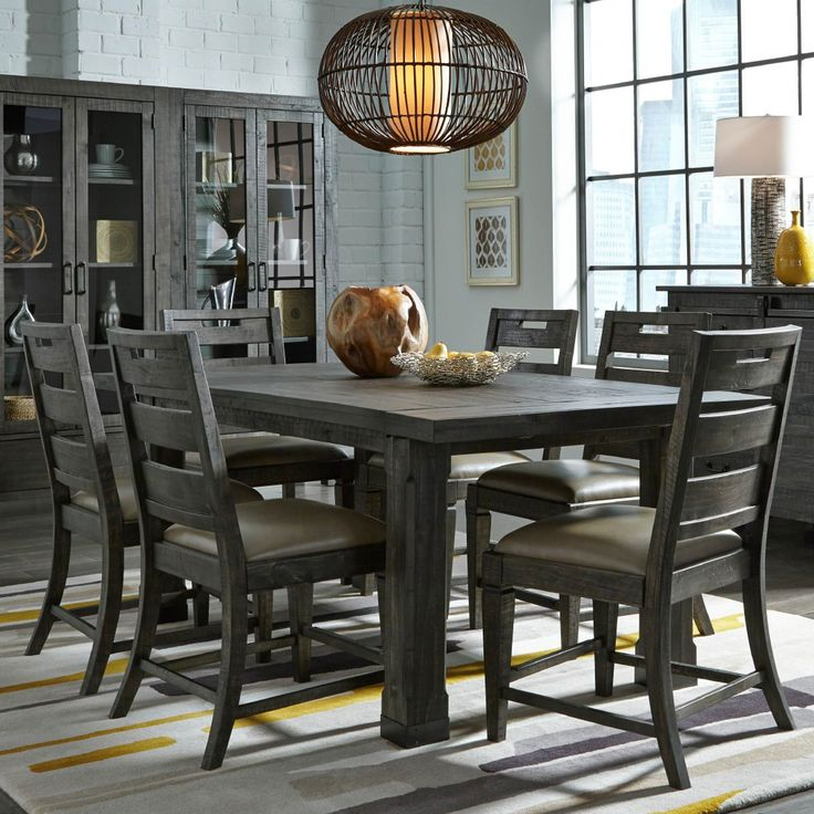 Dining Room Cute Dining Room Sets Have Grey Wood Dining Table Wooden Legs 6  Chairs Front Grey Wood Cupboard Above Laminate Wood Floor Around White Brick  ...
