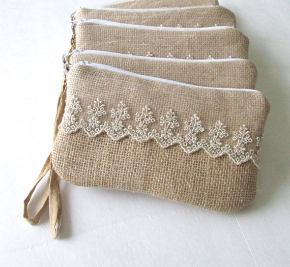 Set of 5 Burlap wristlets Burlap clutch bridal clutch Bridesmaid clutch Lace…