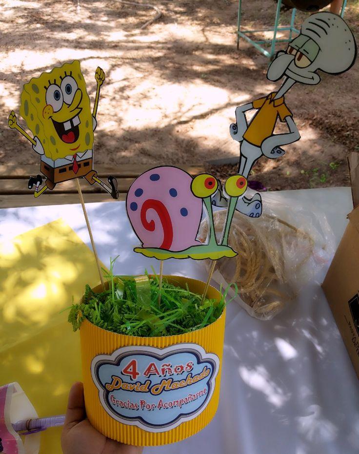 Centro de mesa Bob Esponja #SpongeBob #birthdayparty #centros #fiestas #decoraciones