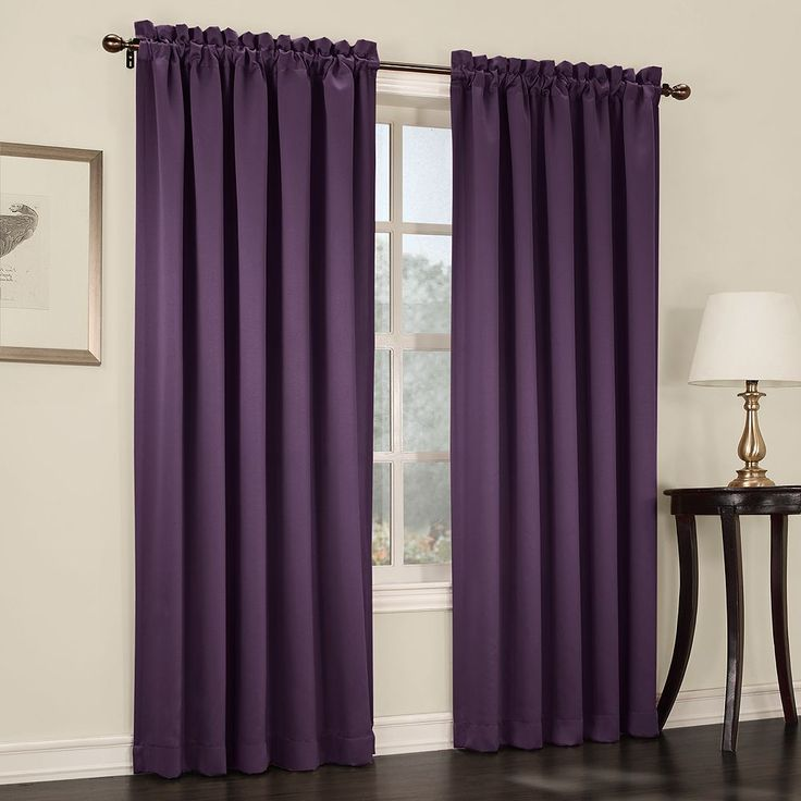 Sun Zero Gramercy Room Darkening Curtain, Purple