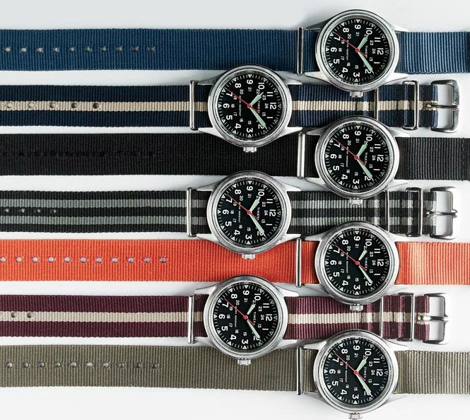 J.Crew Timex Military Watch ($150), inspired by military watches from the 1940s, featuring a stainless steel case, nylon strap, and luminescent hands that glow in the dark. Striped watch strap for $20.