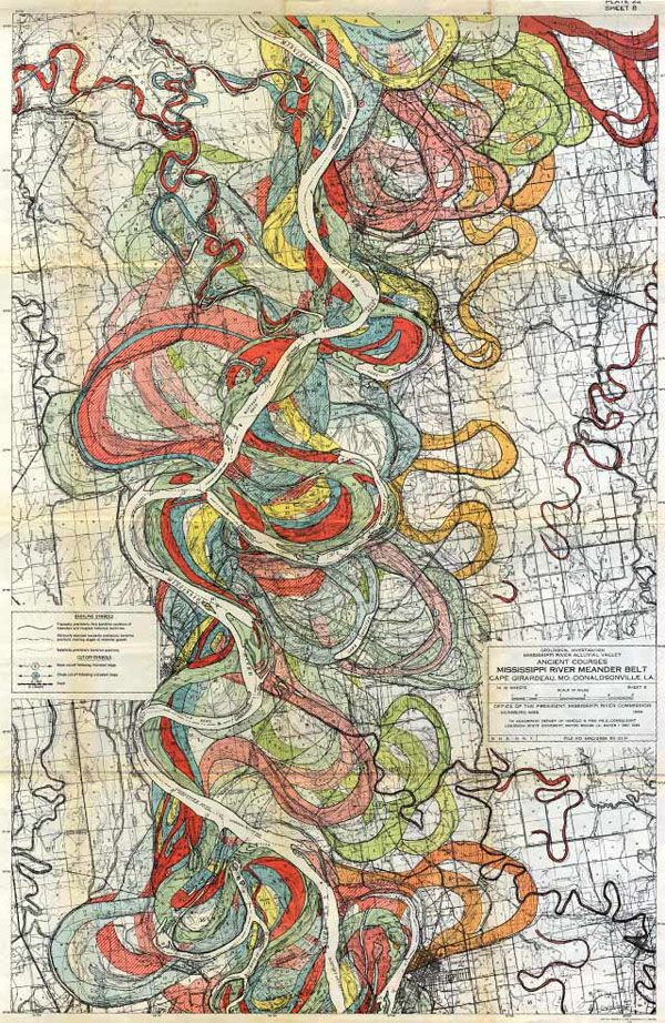 Gorgeous Vintage Maps of the Mississippi River's Path Over Time:  map4