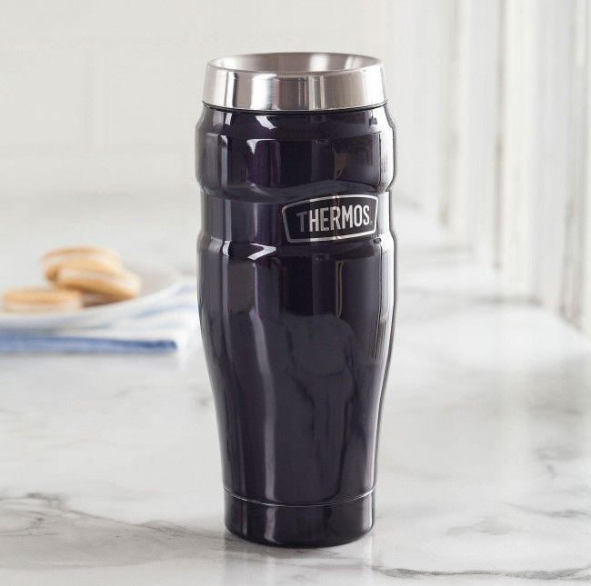 Stay hydrated or caffeinated on the go with a Thermos King Travel Mug. Stainless steel vacuum insulated double wall construction helps maintain superior temperature retention and stays cool to the touch with hot liquids.