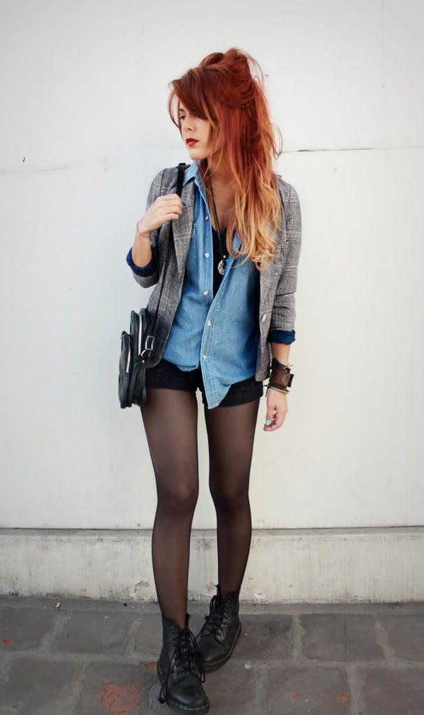 CUte look: Ombre Red Hair - Denim Shirt 90s revival grunge fashion  CLICK THE PIC and Learn how you can EARN MONEY while still having fun on Pinterest