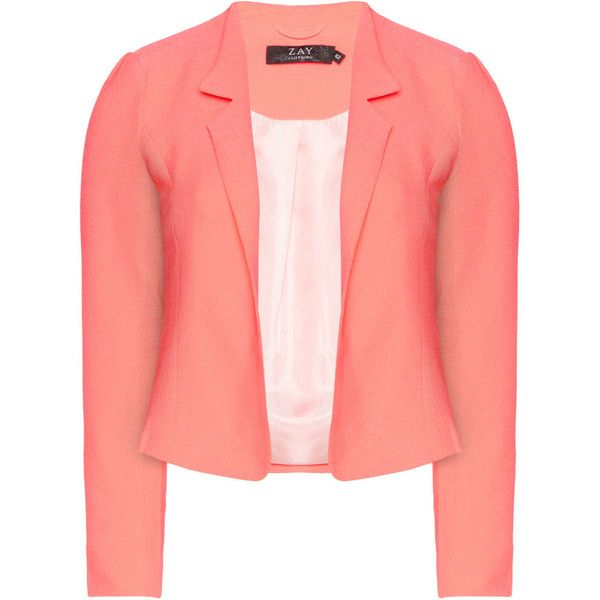Zay Pink Plus Size Cropped blazer (£40) ❤ liked on Polyvore featuring outerwear, jackets, blazers, pink, plus size, red jacket, pink jacket, satin jackets, blazer jacket and red cropped jacket