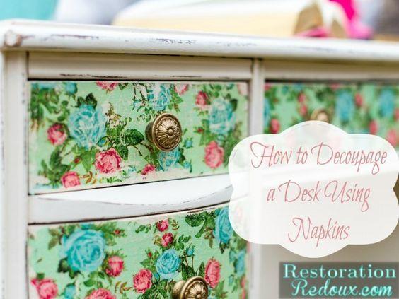 Mobili decoupage ~ Best decoupage desk ideas diy decoupage desk