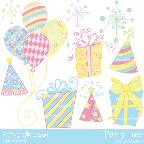 It's time to celebrate with these colorful party clip art, great for decorating invitations, birthday cards, and scrapbooking pages and albums.