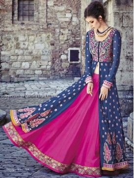 Blue with Pink Floor Length Front Open Anarkali Lehenga Style