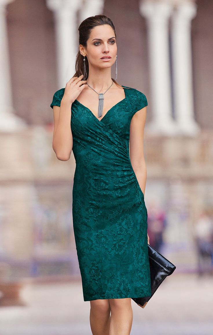together®/MD Women's Emerald Green Lace Dress
