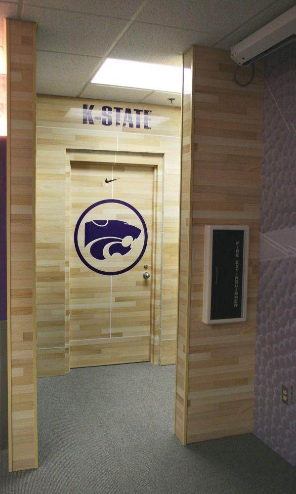 "Kansas State Basketball.  LOVE the ""hardwood"" wall & door!!"
