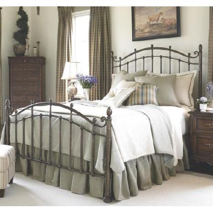 classic wrought iron headboard, bedding (but in different colors), tall drapes