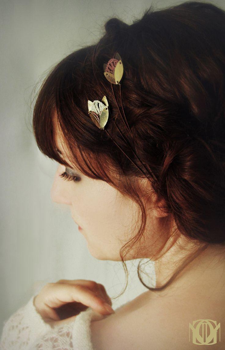 Bijoux Au Crochet Petit Headband Textile Motif Floral Ivoire
