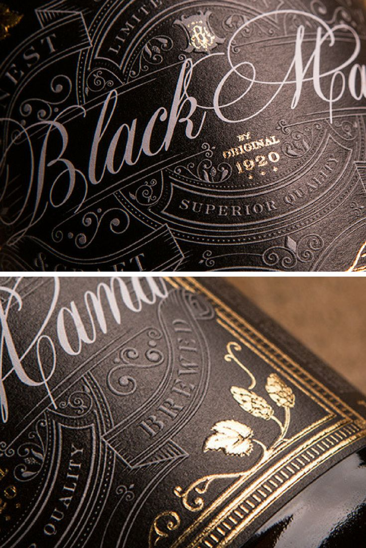 'Black Mama' is a special edition black IPA craft beer. The label design successfully mirrors the premium, strong, flavorful beer through a luxurious style with elegant golden font and impeccable embossed details and ornaments.