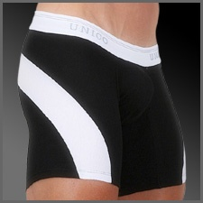 Unico Boxer Suspensor Pop-Arc Long Leg Description: Black boxer with a white arcing stripe running across the back of the boxer round to each outer thigh. White elastic waist band with a pinstripe and repeated Unico brand name in grey.