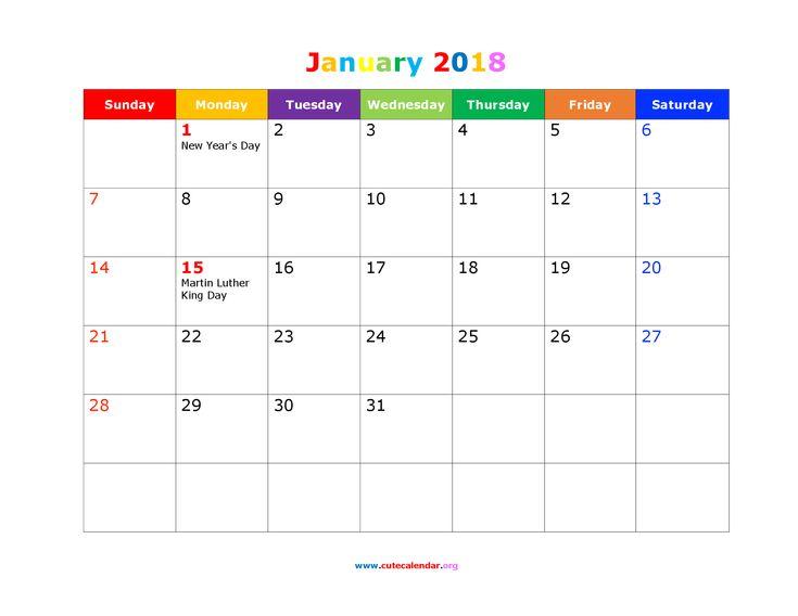 Cute January 2018 Calendar Holidays Landscape