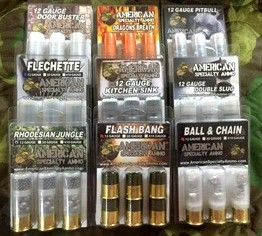 12 Guage Mega Paack (Dragons Breath, Flechettes, Ball & Chain, Door Buster, Flash Bang, Pitbull, Rhodesian Jungle, Kitchen Sink and Double Slug) AmericanSpecialtyAmmo.com