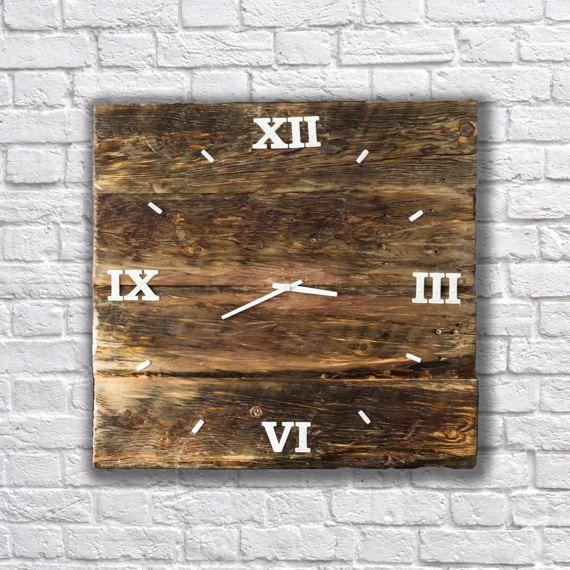 Wall clock, unique wall clocks, wooden clock, unusual wall clocks, rustic wall clock, reclaimed wood clock, reclaimed wood wall art