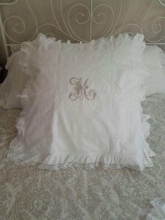 M  Monogramed Euro Sham   Pillow Cover by GracesAntiquesShop