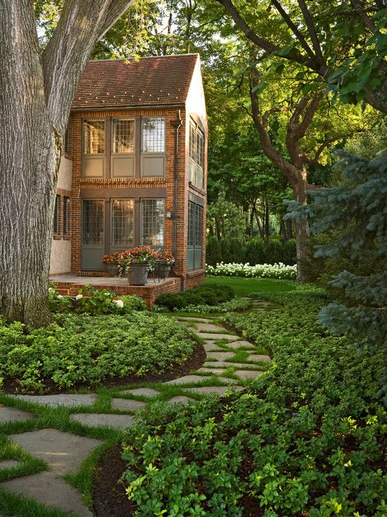 Traditional Landscape Design, Pictures, Remodel, Decor and Ideas: Idea, Walkways, Window, Gardens Paths, Stones Paths, Step Stones, Backyard, Landscape, Sunroom