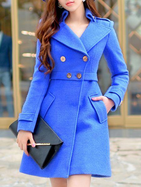 Buttoned Wool blend Coat