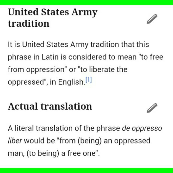 The Green Beret symbol meaning ( De Oppresso liber )
