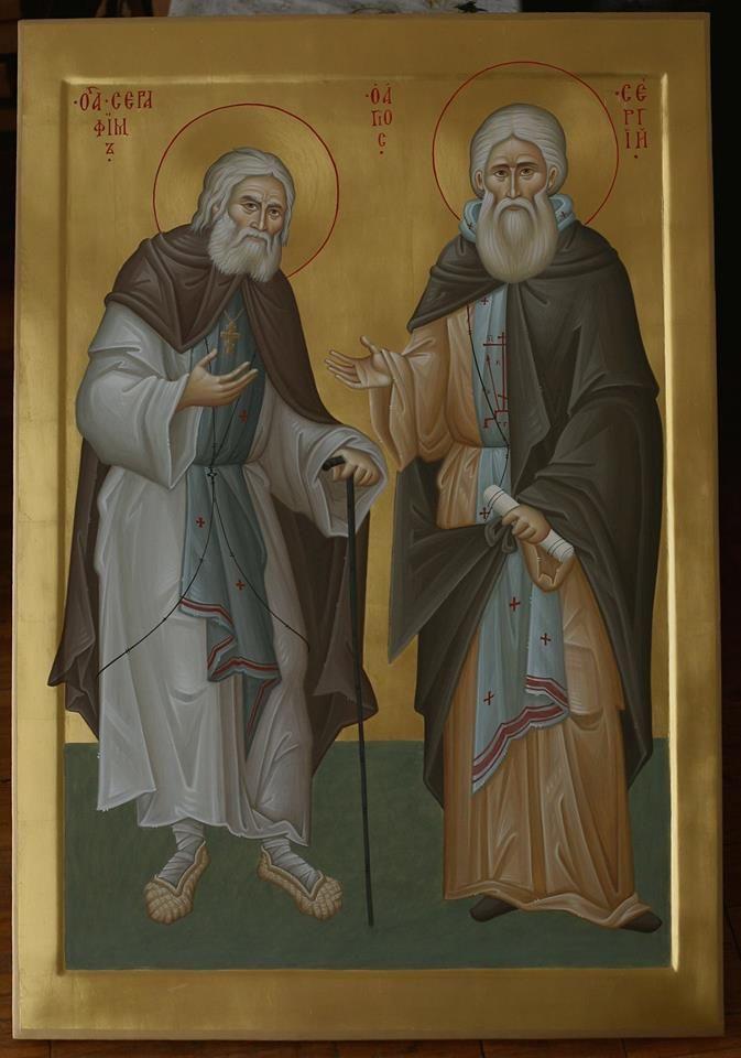 Saint Seraphim of Sarov and Saint Sergius of Radoezh + https://scontent-ams2-1.xx.fbcdn.net/hphotos-xfa1/v/t1.0-9/11949274_10203442386538729_7764971203173877210_n.jpg?oh=d3c4feef1e52dca7f3a72df9c1e1e97e&oe=569FD274