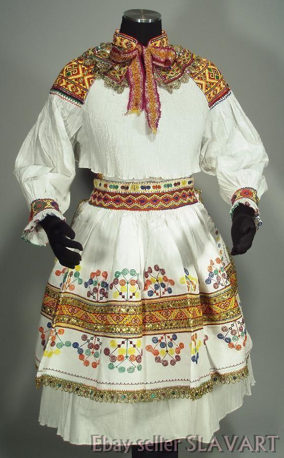 BEAUTIFUL Slovak Folk Costume rare embroidered wedding kroj ZLIECHOV skirt apron | eBay