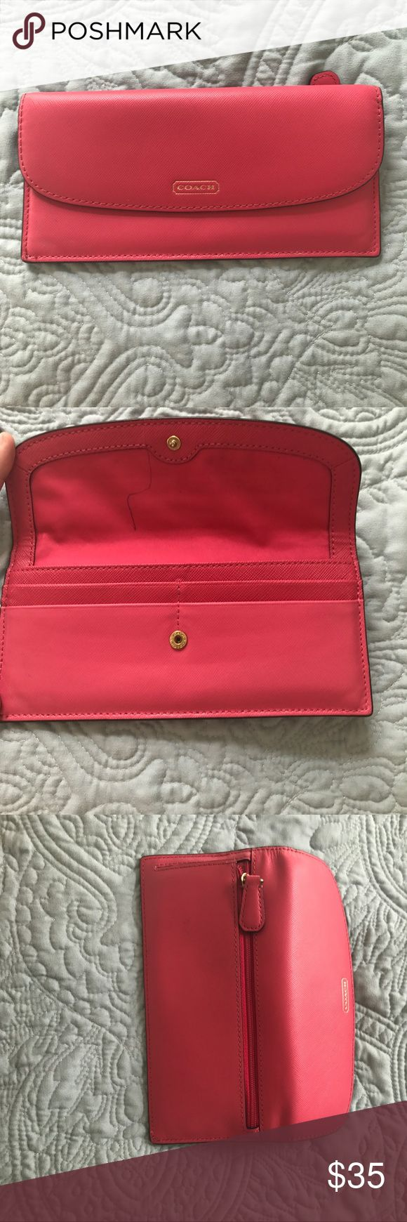 Pink coach wallet! Matches the colorful coach purse in my closet! One pen mark that can likely be removed (I have not tried) only used a couple nights! Coach Bags Wallets