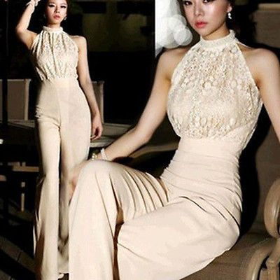 Sexy Women Lace Pearl Halter Long Cocktail Evening Party Trouser Romper Jumpsuit