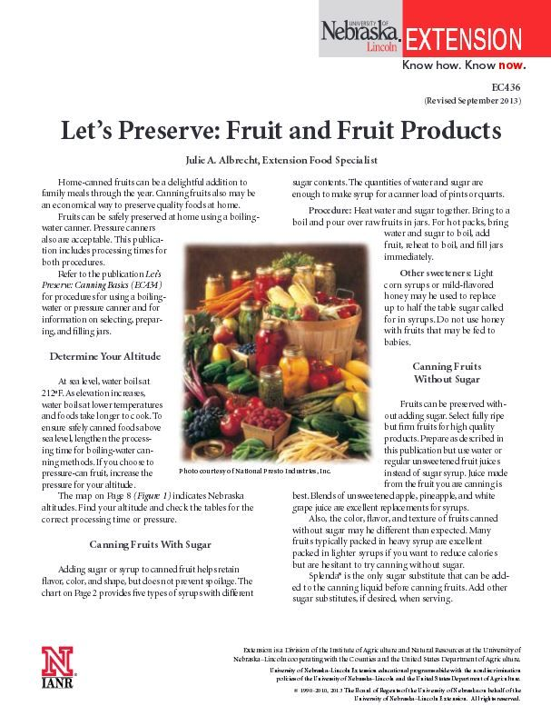 Let's Preserve: Fruit and Fruit Products #NebExt