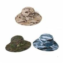 Military style camo bucket hat with string for men outdoor sun hats