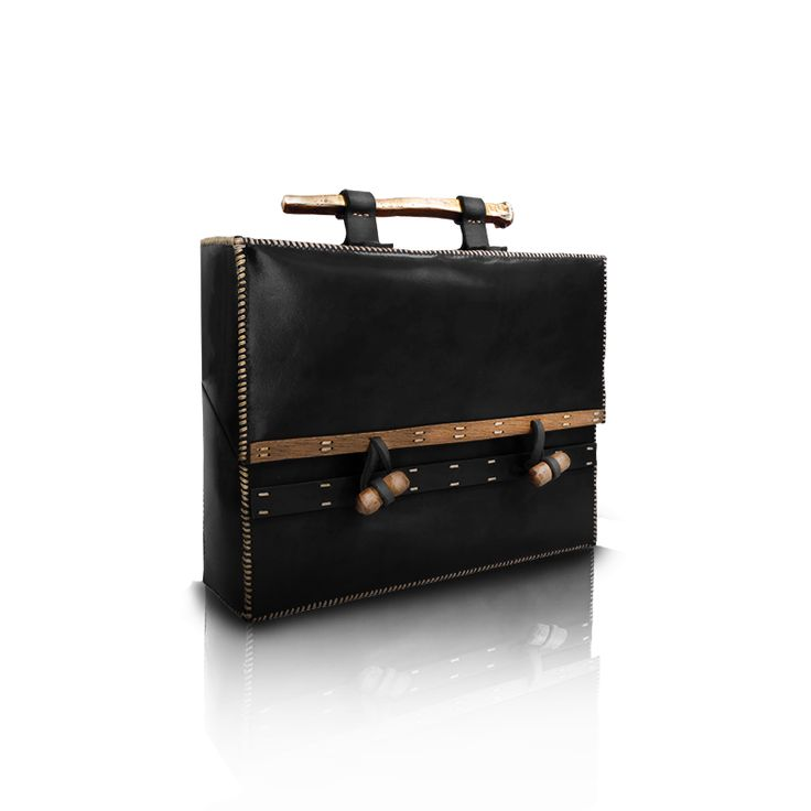 Leather bag with wood and metal. http://larou.gr/product/zerotwo03/
