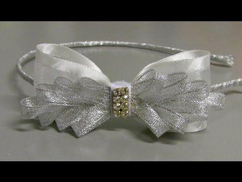 Tiara com Laço Branco de fita de organza - Tiara with Organza Ribbon Bow - YouTube
