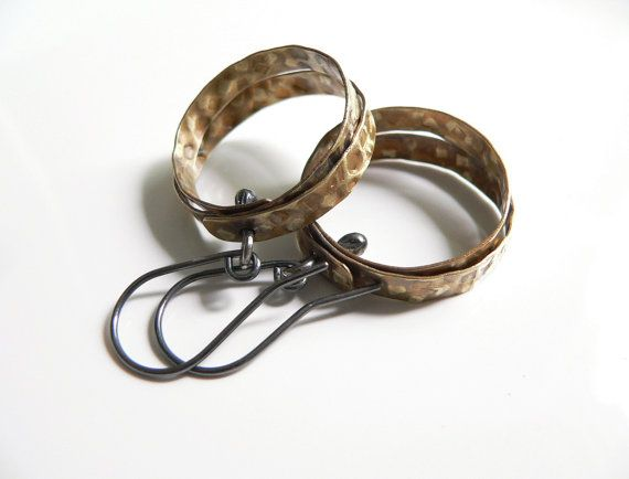 Hoop Earrings brass metalwork metalsmith metal by lucialaredo