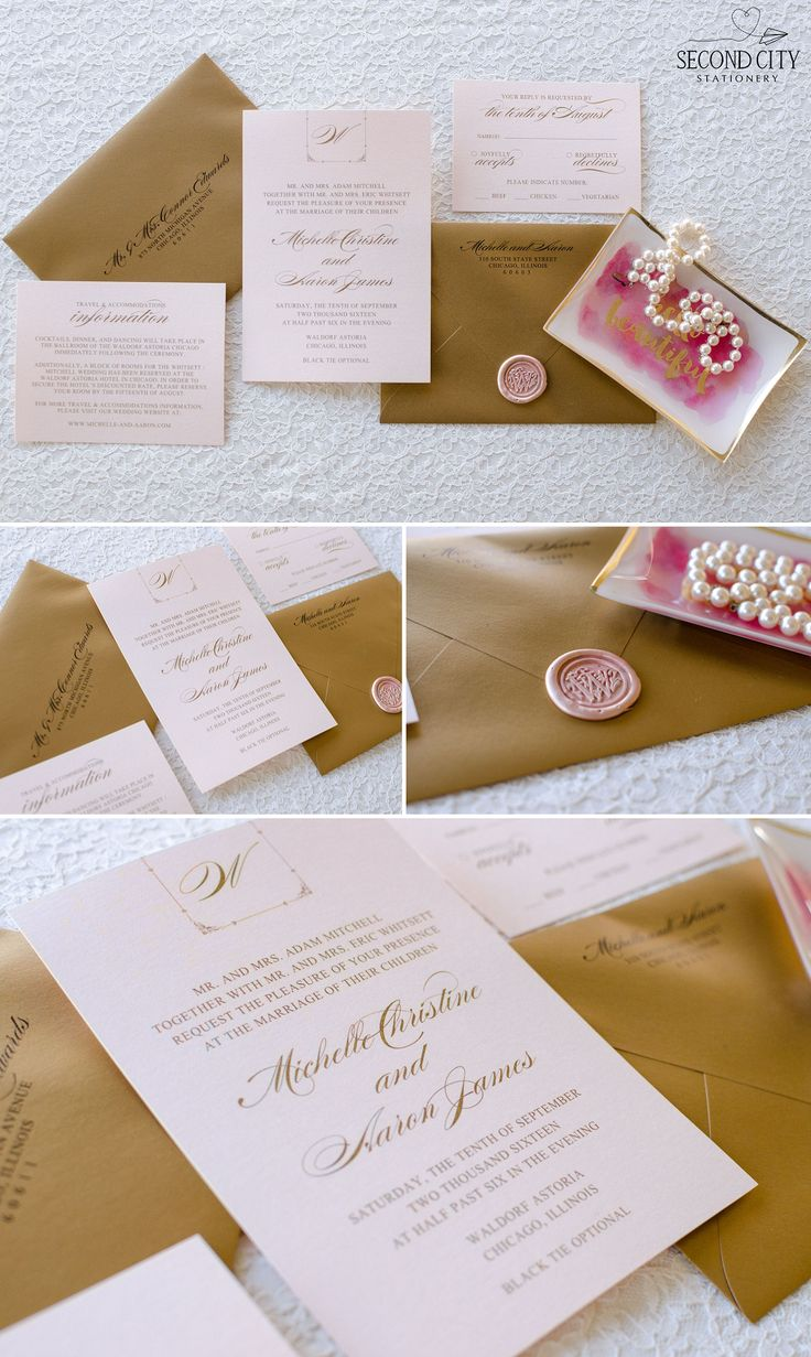 Blush Shimmer Gold Foil Printing and Antique