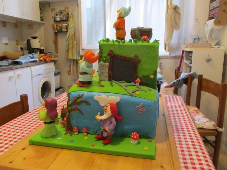 I #sette #nani, #biancaneve in #pdz (#pasta di zucchero). #Cake Design