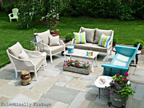 Eclectic Patio with Vintage Glider