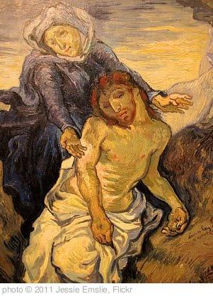 Pieta - Van Gogh after Eugene Delacroix (c. 1890) Oil on canvas. 41.5 by 34 cm. Vatican Museums, Vatican City.