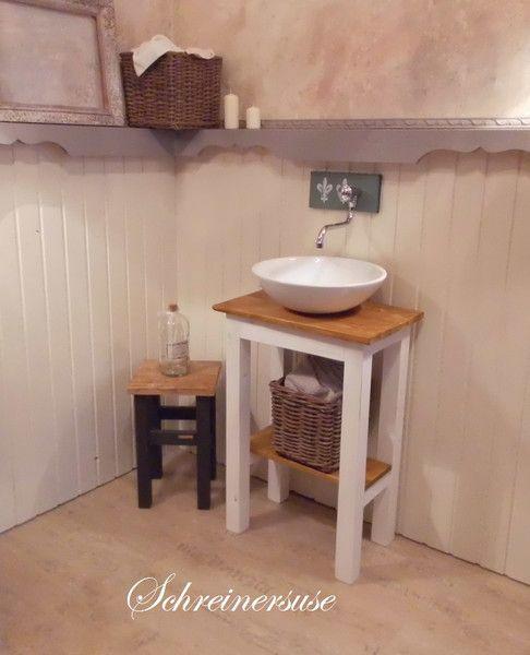 Badunterschränke - Waschtisch S Vintage Weiss-used/Natur - ein Designerstück von Schreinersuse bei DaWanda