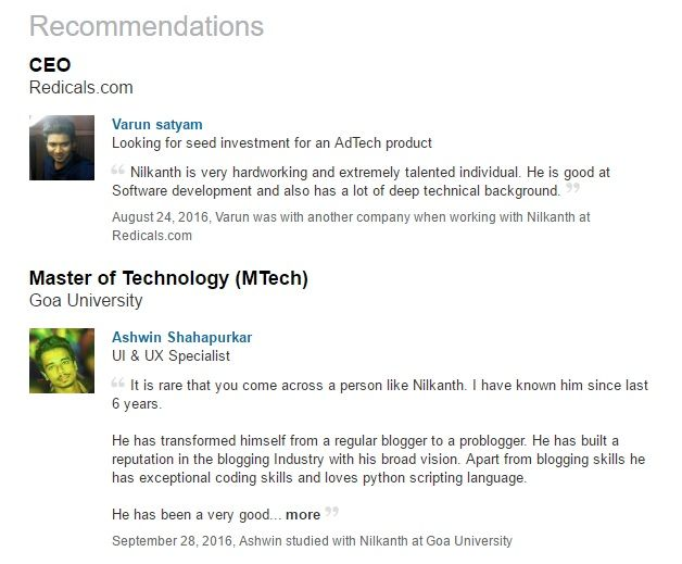 top 30 linkedin recommendation sample examples for