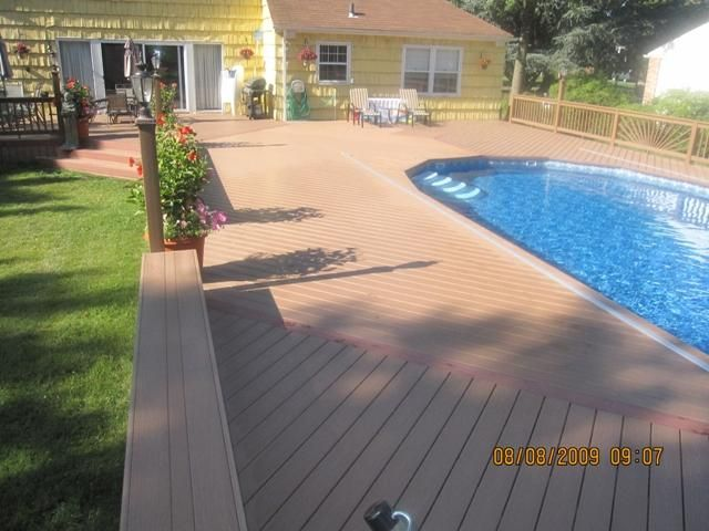 This poolside trex deck by trexpro platinum ace custom decks inc based