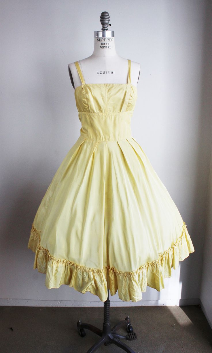 Vintage 1950s Yellow Party Dress