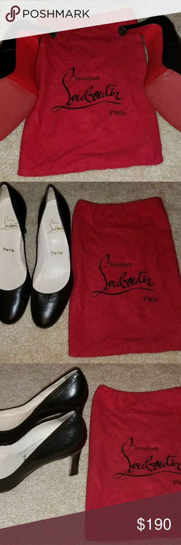 Louboutin Ladies shoes It is a pair of used black leather pumps with black trim, with worn insoles and signs of wear. Heel is 3inches with a 9 5/8 inch insole. EU 38 fits like US 7.5. Christian Louboutin Shoes Heels