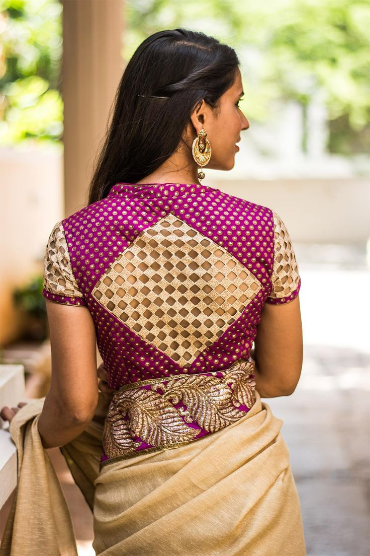 Ready to shop blouses | House Of Blouse Din't we say we are bringing you inspired blouses this season? A high neck beauty in purple brocade with cool cutwork sleeves and diamond back detailing. A sigh worthy blouse this…   A contrast coloured saree, a gold shimmer saree or any saree with purple detailing to do tradition with an awesome twist.