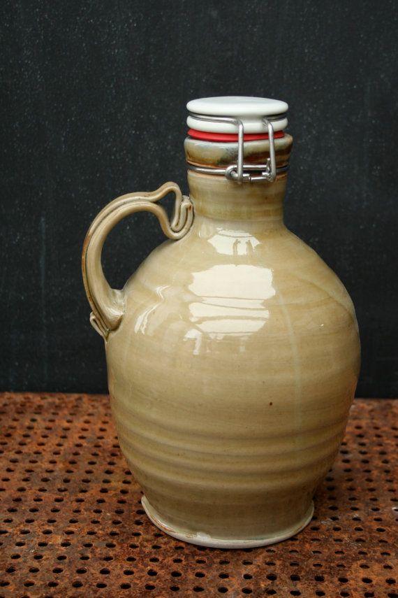 Pottery Beer Growler! Handthrown 56 oz 'straw-poll glaze' ceramic growler with ceramic flip-top lid